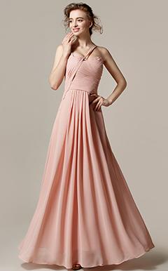 9534e777d54 Γραμμή Α Καρδιά Μακρύ Σιφόν Φόρεμα Παρανύμφων με Που καλύπτει ...
