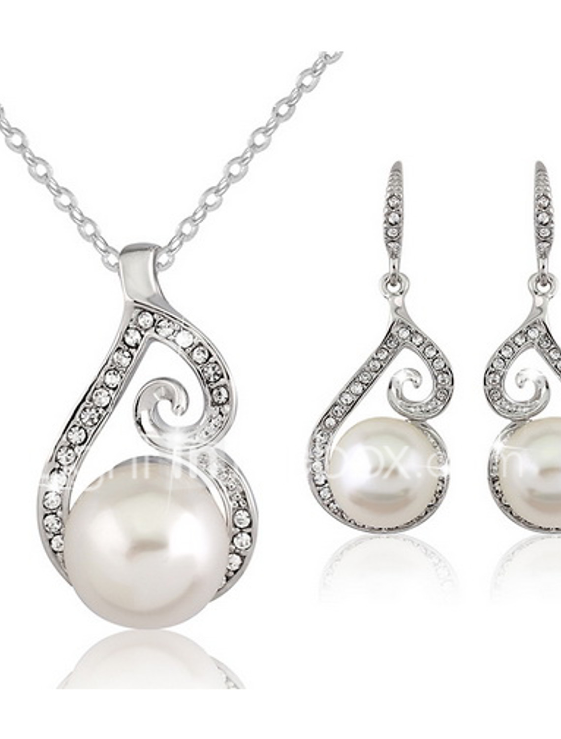 Unique Platinum Plated Pearl Drop Earrings Hot Women Fashion Party Jewelry CG