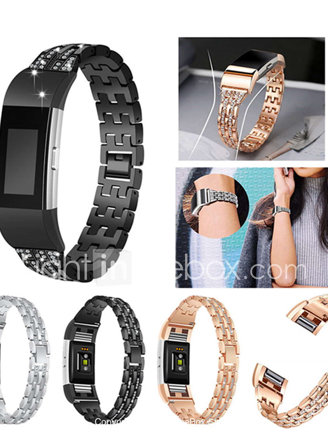 STAINLESS STEEL RHINESTONE WATCHBAND WRIST STRAP FOR FITBIT CHARGE 2 FUNNY