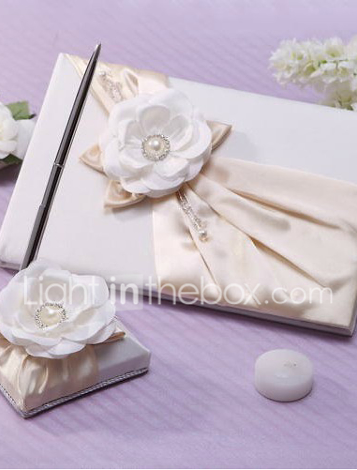 Rhinestone Pearlized Heart Rose Bouquet Wedding Guestbook and Pen Set 20-25405