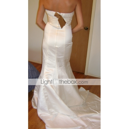 Mermaid Trumpet Strapless Sweep Brush Train Satin Wedding