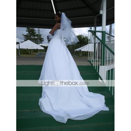 762d002ff7b52 منفوش بدون حمالات ذيل كاتيدرائية شيفون فساتين الزفاف صنع لقياس مع حصى  بواسطة LAN TING BRIDE ...