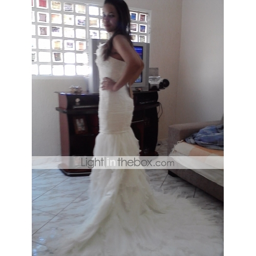 Mermaid / Trumpet One Shoulder Court Train Organza Satin Wedding Dress With  Beading Appliques Flower By ...
