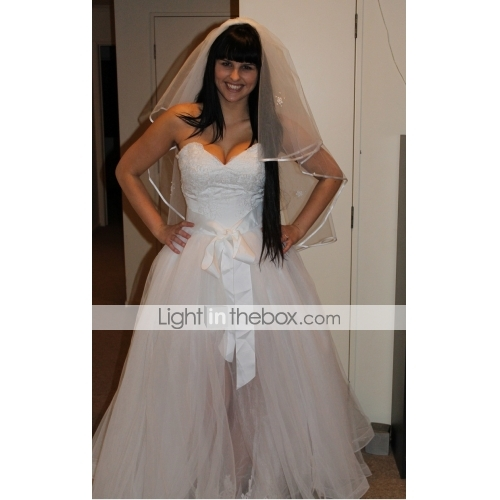 Nice A Line / Princess Sweetheart Neckline Floor Length Tulle Made To Measure  Wedding ...