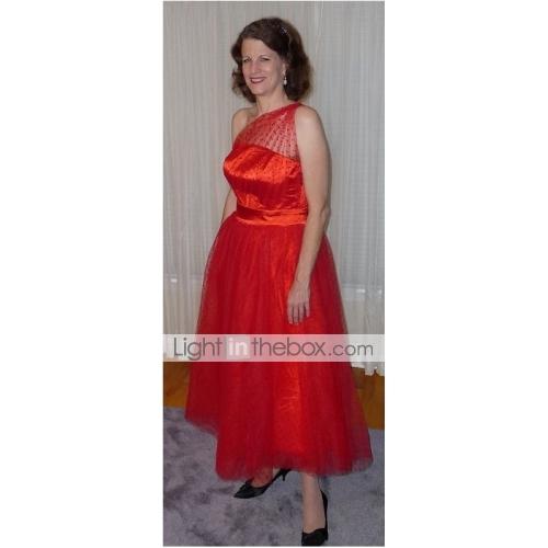 7a6af5c1dd5 A-Line One Shoulder Ankle Length Tulle Little Black Dress   See Through    Vintage