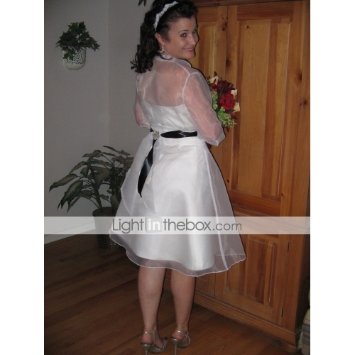 ... A Line Strapless Knee Length Organza Made To Measure Wedding Dresses  With Side