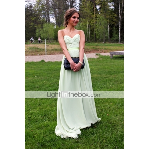 ... Light In The Box Again. A Line V Neck Floor Length Chiffon Prom /  Formal Evening Dress With Sash /