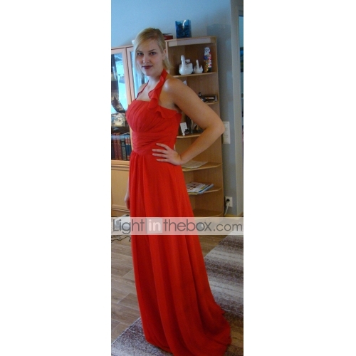 a45ad56ead2f A-Line Halter Neck Floor Length Chiffon Bridesmaid Dress with Draping /  Ruffles / Ruched
