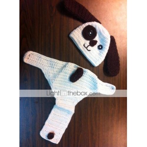 1 db baba fotózás kellékek újszülött horgolt ruhák fotó kellékek  gyerekeknek kötött horgolt kis kutya 0 a404003d24