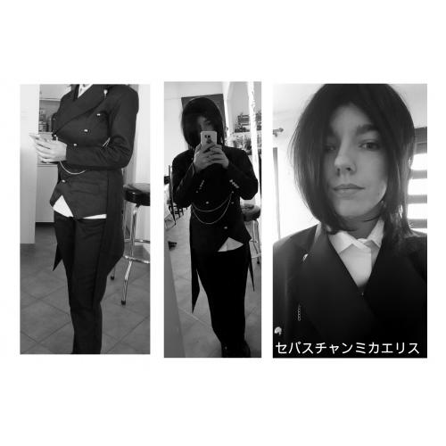 82206259fa ... Ihlette Black Butler Sebastian Michaelis Anime Szerepjáték jelmezek  Cosplay ruhák Egyszínű Hosszú ujj Mellény / Nadrágok