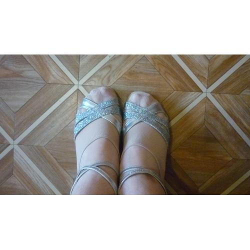 ... Dámské Boty na latinskoamerické tance   Standardní Třpytky Sandály  Přezky Kačenka Na míru Taneční boty Stříbro ... 3fcb3319ee
