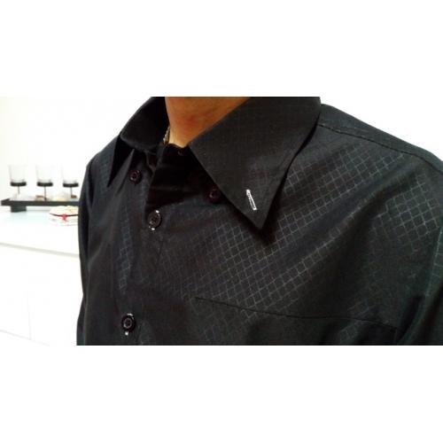 Homens Camisa Social Sólido   Listrado Algodão   Manga Longa opini o 0bf1e2b8373f3