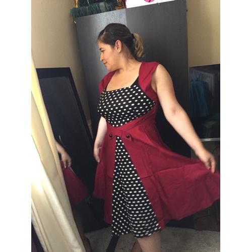 Női Extra méret Alkalmi Vintage Pamut A-vonalú Ruha Pöttyös Térdig érő  Szögletes Piros ... a73dc2bda6
