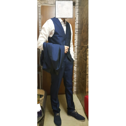 e5c8dfa5c ... Azul Real Sólido Fino Algodão   Poliéster   Elastano Terno - Xale Comum  1 Botão