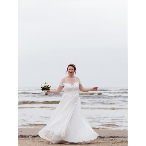 4595010886f ... А-силуэт Совок шеи В пол Сатиновый шифон Свадебные платья  Made-to-Measure