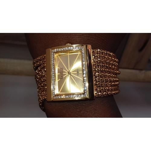 ... Mujer Reloj Pulsera Japonés Cuarzo Cobre Dorado La imitación de  diamante Analógico damas Lujo Destello Moda 129b5b34f8db