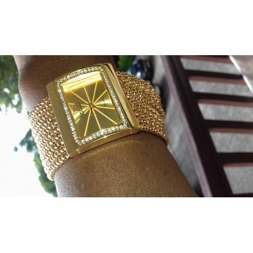 Mujer Reloj Pulsera Japonés Cuarzo Cobre Dorado La imitación de diamante  Analógico damas Lujo Destello Moda ... e9e584b17afc