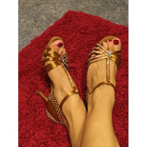Femme Latines Salon De Salsa Sandale Chaussures Satin PX0wO8nk