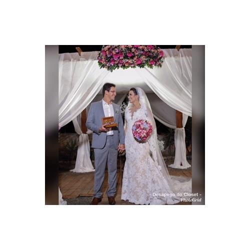 c83cfd53e ... Sereia Decote V Cauda Corte Todo Em Renda Vestidos de casamento feitos  à medida com Apliques ...