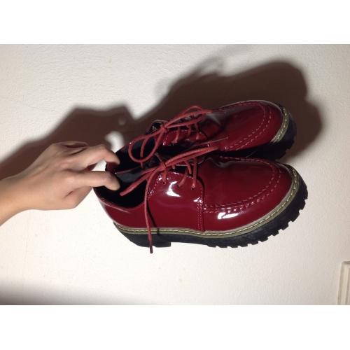 ... Femme Chaussures Similicuir Printemps Automne Plateau Creepers Lacet  pour Décontracté De plein air Noir Bourgogne c11aa67122ca