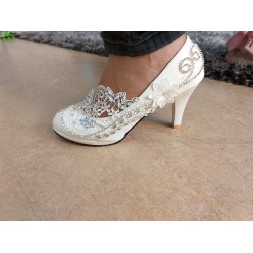44fb78007 ... للمرأة أحذية دانتيل جلد ربيع خريف مريح أحذية الزفاف أمام الحذاء على شكل  دائري حجر كريم ...
