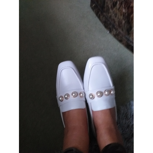 a014ae1848c50 Women's Loafers & Slip-Ons Moccasin Flat Heel Imitation Pearl Nappa ...