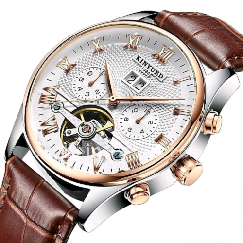 db3a523c9 KINYUED Pánské Hodinky s lebkou Náramkové hodinky mechanické hodinky  japonština Automatické natahování Kůže Černá / Hnědá