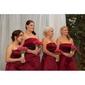 Linia -A Prințesă Fără Bretele Lungime Genunchi Satin Rochie Domnișoară Onoare cu Arc Eșarfă / Panglică de LAN TING BRIDE®