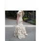 trompeta / Mermaid V-gât podea-lungime tafta sexul și rochie oras / bal (fsh0185)