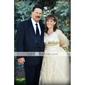 Linia -A Prințesă Gât V Trenă Court Satin Tulle Rochie de mireasă cu Decorat de LAN TING BRIDE®