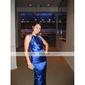 trompeta / Mermaid ștreangul de podea-lungime elastic seara din satin țesute / rochie de bal (fsd0392)