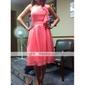 a-line printesa o umăr genunchi lungime șifon rochie de onoare cu draffing volane de lan ting bride®