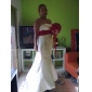 Trompetă / Sirenă Fără Bretele Mătura / Trenă Satin Rochie de mireasă cu Pin Cristal Floral Decorat Ruche de LAN TING BRIDE®
