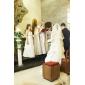 a-line printesa spaghete curele podea lungime organza satin junior rochie de onoare cu pliuri de lan ting bride®