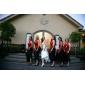 Trompetă / Sirenă Halter Gât V Lungime Podea Satin Rochie Domnișoară Onoare cu Arc Dantelă Eșarfă / Panglică de LAN TING BRIDE®