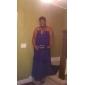 Coloană / Teacă Fără Bretele Gât V Lungime Podea Șifon Bal Seară Formală Bal Militar Rochie cu Pliuri de TS Couture®