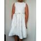 A-line Printesa genunchi lungime floare fată rochie - satin fără mâneci gât bijuterie cu panglică de lan ting bride®