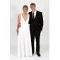 Linia -A Gât V Trenă Court Șifon Seară Formală Rochie cu Drapat Părți de TS Couture®