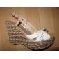Pantofi pentru femei - Imitație de Piele - Toc Pană - Wedges - Sandale - Rochie - Albastru / Roșu / Alb