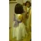 A-line podea lungime floare fata rochie - tul fără mâneci gât scoop de lan ting bride