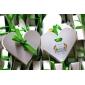 12 piese / set titular favoarea - in forma de inima de hârtie carte de cutii favoare panglica verde