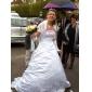 Linia -A Prințesă Fără Bretele Trenă Capelă Satin Rochie de mireasă cu Mărgele Brodat de LAN TING BRIDE®