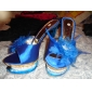 Satin Upper Stiletto Heel Pumps/ Slippers With Feather Party/ Evening Shoes