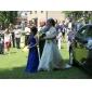 Coloană / Teacă Lungime Podea Șifon Rochie Junion Domnișoare Onoare cu Mărgele Drapat de LAN TING BRIDE®