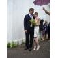Coloană / Teacă Halter Mini / Scurt Satin Rochie de mireasă cu Drapat Părți de LAN TING BRIDE®
