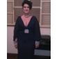 Trompetă / Sirenă Gât V Mătura / Trenă Șifon Seară Formală Bal Militar Rochie cu Mărgele Drapat Părți de TS Couture®