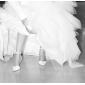 Haut de satin de qualité supérieure du talon haut fermé orteils avec des chaussures en dentelle de mariée mariage