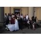 Linia -A Prințesă In Formă de Inimă Trenă Court Dantelă Rochie de mireasă cu Mărgele Eșarfă / Panglică Decorat Ruche de LAN TING BRIDE®