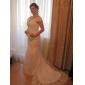 Mermaid / trompeta off-the-shoulder capelă tren organza rochie de mireasă cu aplicații de beading de lan ting bride®