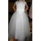 A-line rochie de mireasa printesa podea lungime floare fată rochie - tul fără mâneci bateau gât de lan ting bride®
